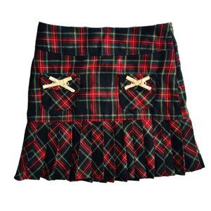 Red and Green Tartan Plaid Pleated Skirt